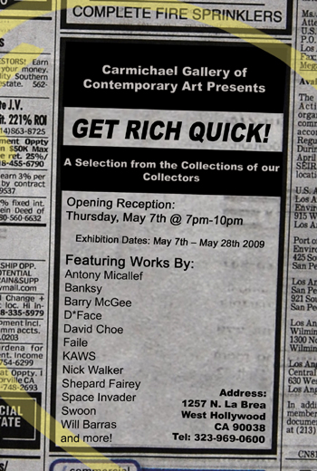 Carmichael Gallery of Contemporary Art Presents: 'GET RICH QUICK!'
