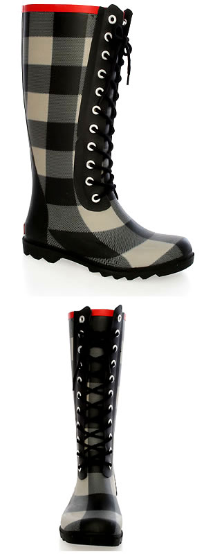 The Buffalo Lace Up Boot in Bone & Black Plaid by Chooka